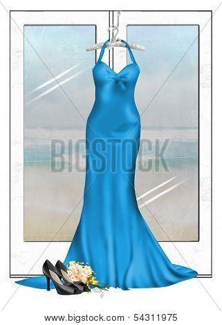 turquoise gown hanging on door