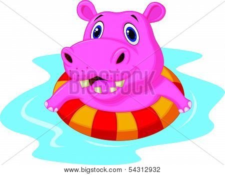 Hippo cartoon floating on an inflatable circle in the pool