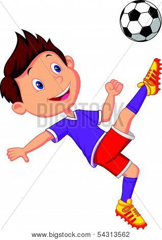 Boy cartoon playing football