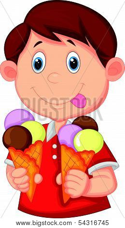 Little boy cartoon with ice cream