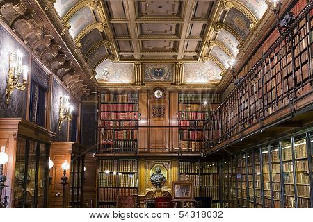 Chateau de Chantilly, Oise, France, the library