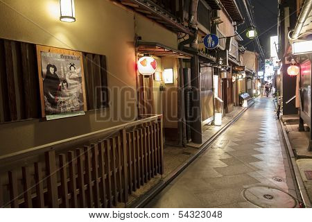 Ponto-cho Alley Is One Of The Most Characteristic Streets In Kyoto, With Restored Traditional Archit
