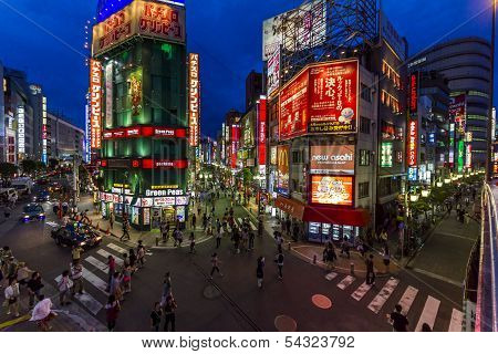 Wide Angle Photo Of Brightly Lit Streets In East Shinjuku, Tokyo, Japan.