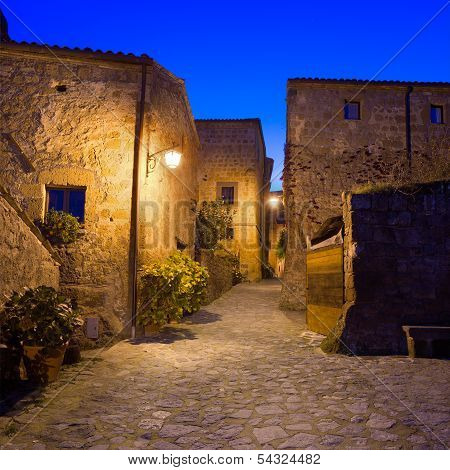 Civita Di Bagnoregio Landmark, Medieval Village View On Twilight. Italy