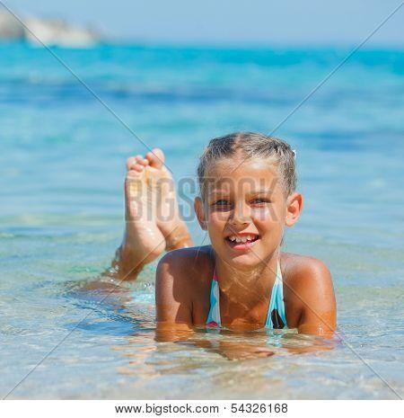 Swimming cute girl