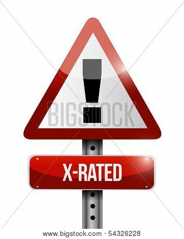 X-rated Warning Road Sign Illustration Design