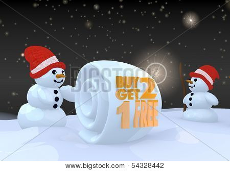 Two Snowman With Buy Two Get One Free Symbol