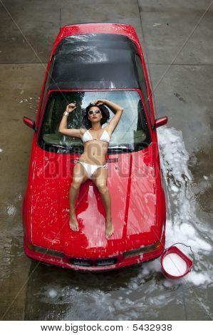 Brunette Model Washing Car