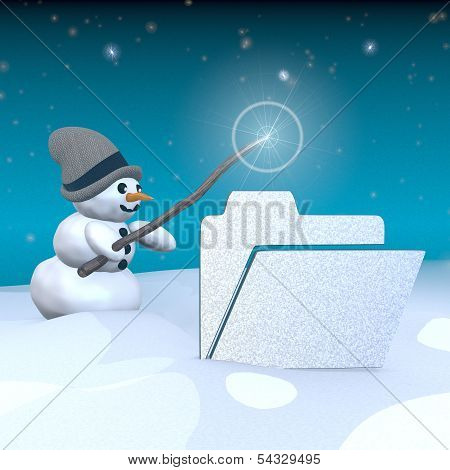 Snowman With Magic Wand And Folder Label