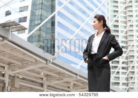 Business Woman Look Something,serious
