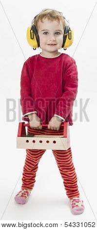Child In Red With Toolbox And Earmuffs
