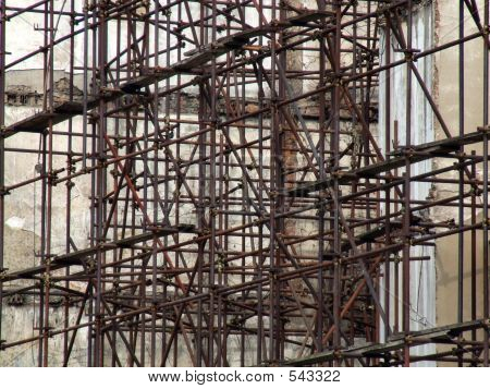 Rusty Old Scaffolding Construction