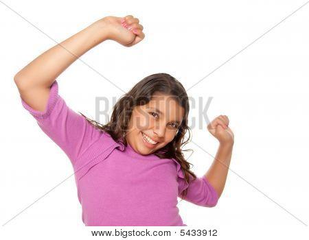 Happy Hispanic Girl Dancing