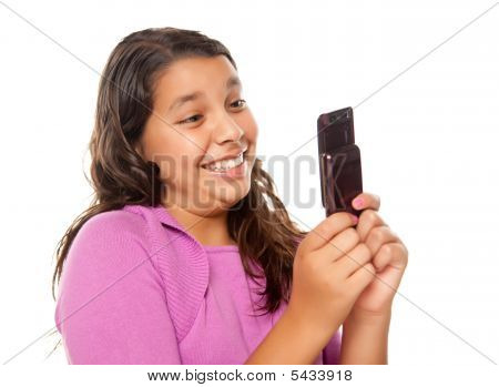 Happy Pretty Hispanic Girl On Cell Phone