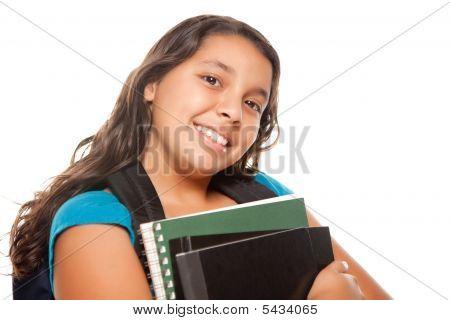 ziemlich hispanischen Mädchen mit Büchern und Rucksack
