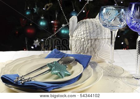 Vintage turkey tureen with beautiful festive holiday table setting