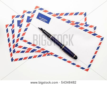 Airmail Envelopes And Fountain Pen