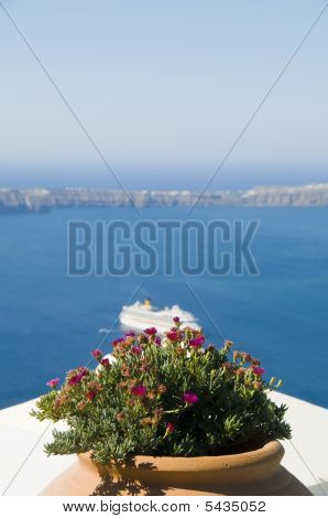 View  Volcanic Islands Of Santorini Greece And Cruise Ship In The Caldera