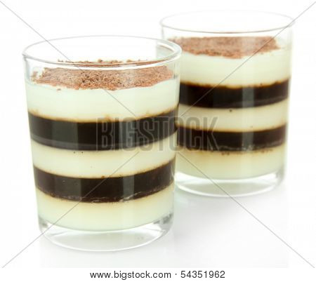 Tasty jelly coffee with milk isolated on white