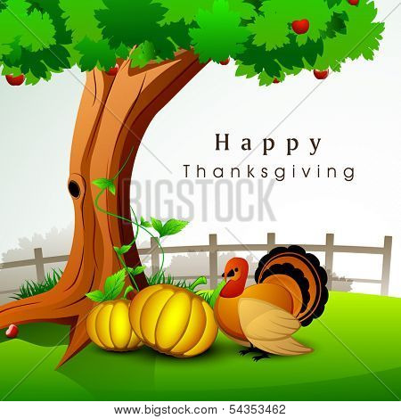 Happy Thanksgiving Day celebration concept with pumpkins and turkey bird under green tree on nature background, can be use as flyer, banner or poster.