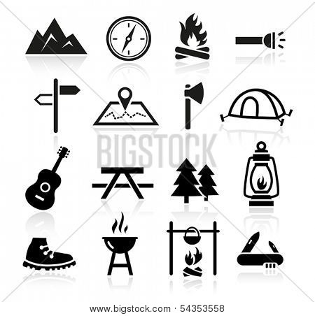 Collection of outdoor and camping icons