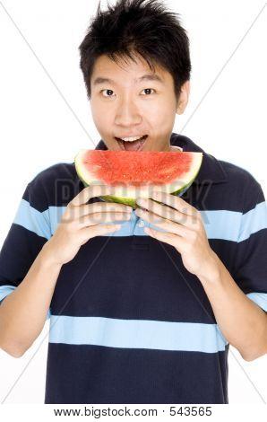 Man Eating Melon