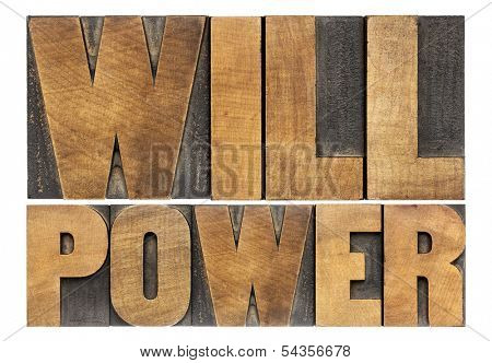 will power words - isolated text in letterpress wood type