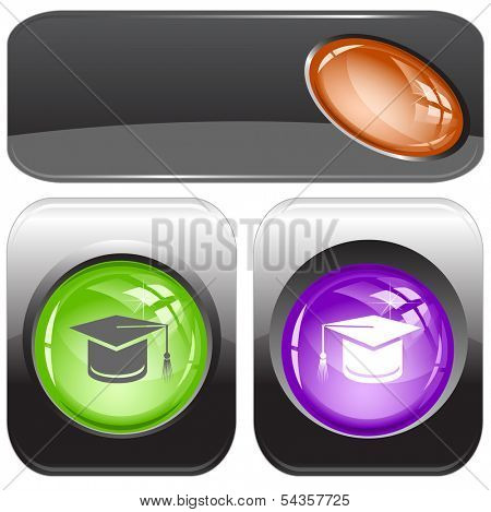 Graduation cap. Internet buttons. Raster illustration.