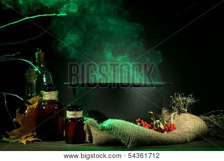 Scary Halloween laboratory on dark color background