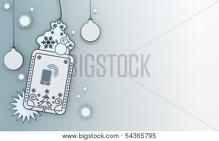 Blue Xmas Coupon With Smart Phone Card