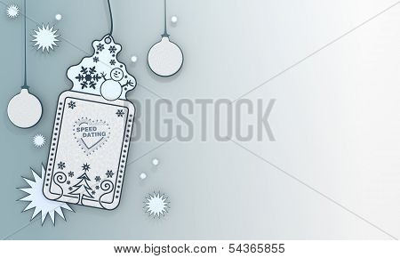 Blue Xmas Coupon With Speed Dating Symbol