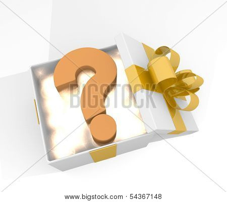 Christmas Gift Box With Question Symnol