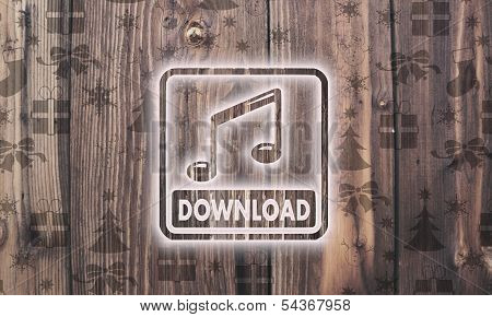 Wooden Music Download Label With Presents