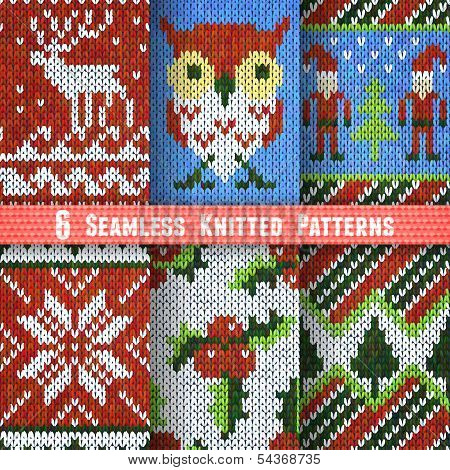 Set of Six Seamless Knitted Patterns
