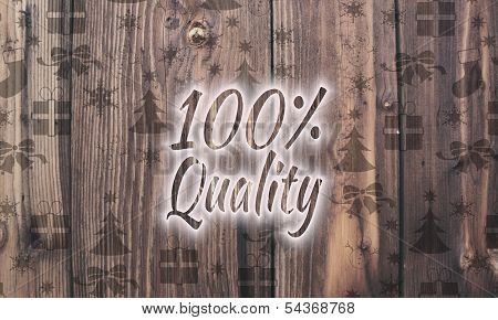 Wooden Quality Symbol With Presents