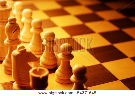 Chess Pieces Aligned For The Beginning Of The Game