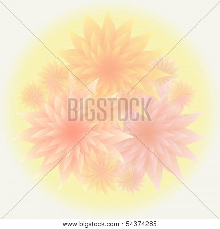 Bunch Of Tender Flowers In Shades Of Orange And Pink