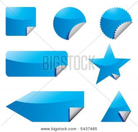 Set Of Blue Vector Stickers With Peeling Corners