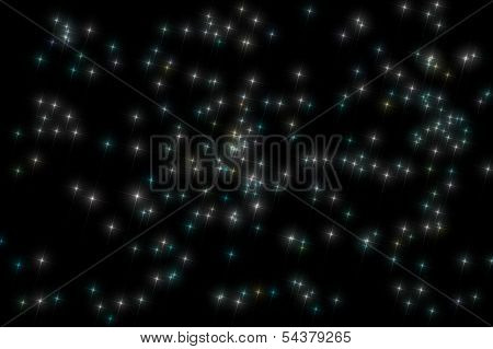 Double Cluster In Perseus Cross Pattern On Black Background