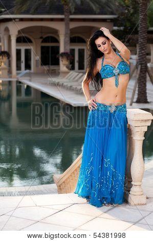 Beautiful Belly Dancer In A Blue Costume