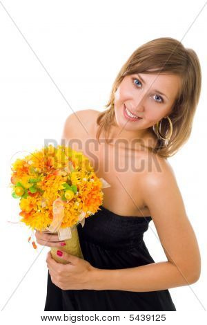 Woman With Autumn Flowers