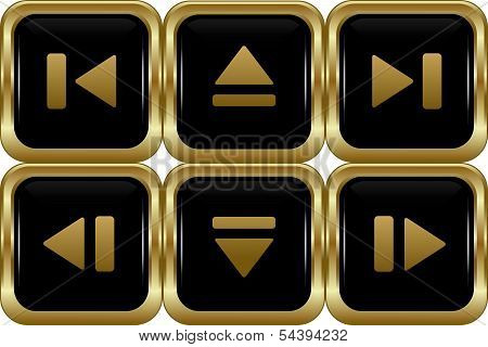 Set Of The Black Gold Switch Buttons.