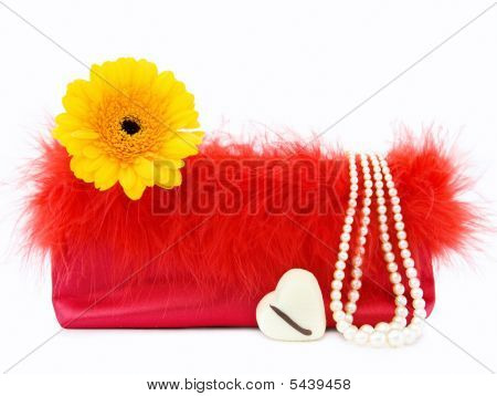 Glamour Girl - Vintage Red Bag With Pearls