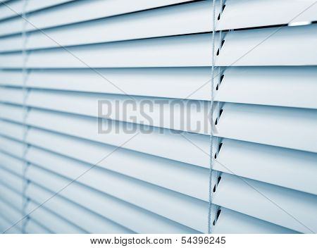 White plastic window blinds close studio shot