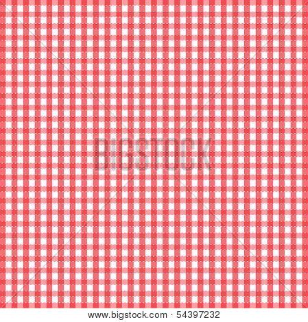 Seamless retro white-red square tablecloth - vector