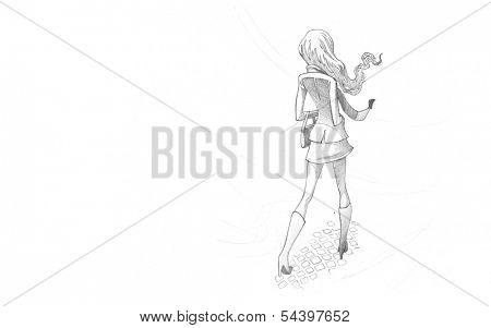 Hand-drawn Sketch, Pencil Illustration, Drawing of Young Woman in wind | High Resolution Scan, Decent Copy Space
