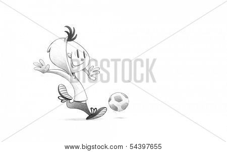 Hand-drawn Sketch, Pencil Illustration, Drawing of Child Soccer Player PLaying Football | High Resolution Scan, Decent Copy Space