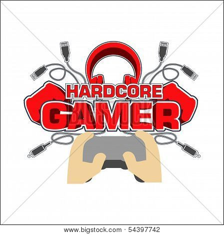 Hardcore Gamer T Shirt Design Vector