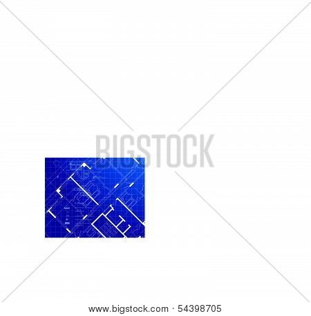 Vector architecture background. White drawing on blue gradient