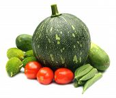 stock photo of okra  - Green pumpkin tomato okras kakrol and cucumber - JPG
